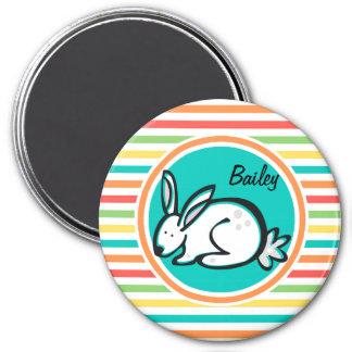 Bunny Bright Rainbow Stripes Fridge Magnet