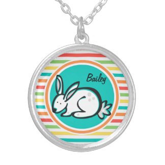 Bunny Bright Rainbow Stripes Personalized Necklace