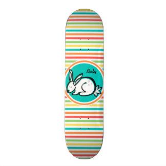 Bunny; Bright Rainbow Stripes Skateboard