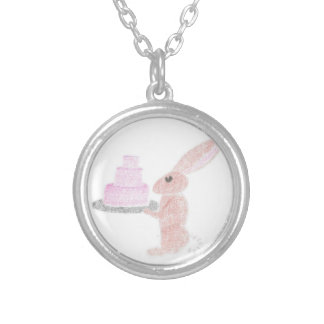 Bunny Brings Out The Cake Silver Plated Necklace