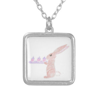 Bunny Brings Out The Cupcakes Silver Plated Necklace