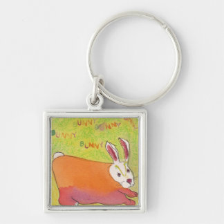 Bunny Bunny Keychain! Fun! Silver-Colored Square Key Ring