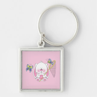 Bunny Cartoon Silver-Colored Square Key Ring