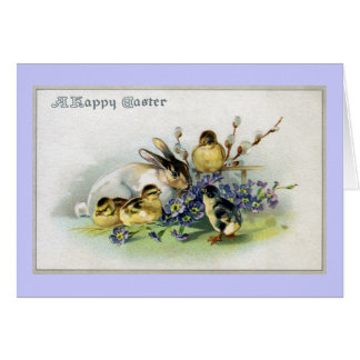 Bunny, Chicks and Primroses Vintage Easter Card