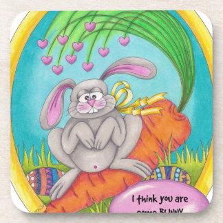 Bunny Coloured-words Beverage Coasters