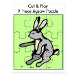 Bunny  Cut & Play 9 Piece Jigsaw Puzzle Postcard