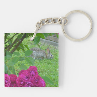Bunny Double-Sided Square Acrylic Key Ring