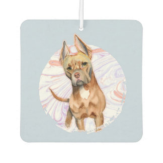 """Bunny Ears"" 2 Pit Bull Dog Watercolor Painting Car Air Freshener"