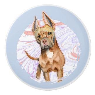 """Bunny Ears"" 2 Pit Bull Dog Watercolor Painting Ceramic Knob"