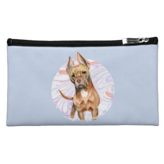 """""""Bunny Ears"""" 2 Pit Bull Dog Watercolor Painting Cosmetic Bag"""