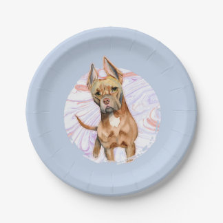"""Bunny Ears"" 2 Pit Bull Dog Watercolor Painting Paper Plate"