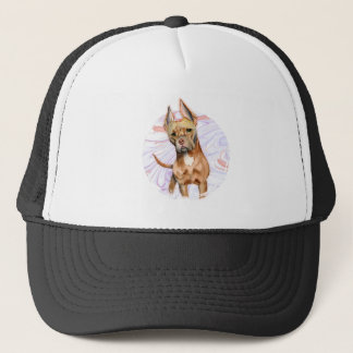 """""""Bunny Ears"""" 2 Pit Bull Dog Watercolor Painting Trucker Hat"""