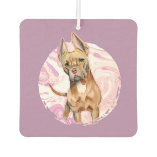 """Bunny Ears"" 3 Pit Bull Dog Watercolor Painting Car Air Freshener"