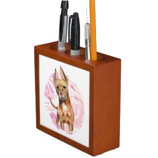 """Bunny Ears"" 3 Pit Bull Dog Watercolor Painting Desk Organiser"