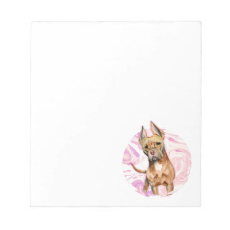 """""""Bunny Ears"""" 3 Pit Bull Dog Watercolor Painting Notepad"""