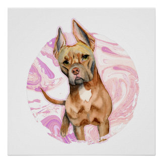 """Bunny Ears"" 3 Pit Bull Dog Watercolor Painting Poster"