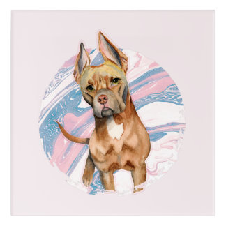 """Bunny Ears"" Pit Bull Dog Watercolor Painting Acrylic Wall Art"