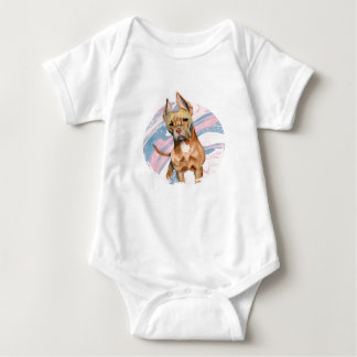 """""""Bunny Ears"""" Pit Bull Dog Watercolor Painting Baby Bodysuit"""