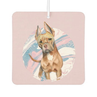 """Bunny Ears"" Pit Bull Dog Watercolor Painting Car Air Freshener"