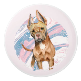 """Bunny Ears"" Pit Bull Dog Watercolor Painting Ceramic Knob"