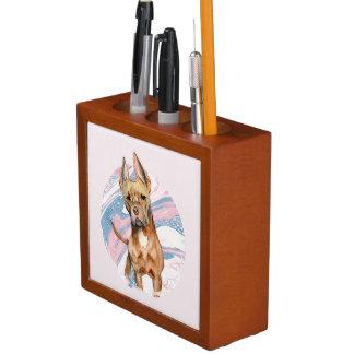"""Bunny Ears"" Pit Bull Dog Watercolor Painting Desk Organiser"