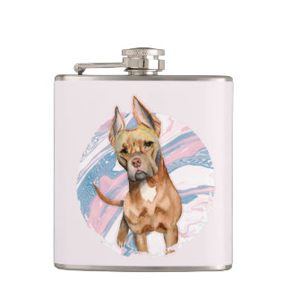 """""""Bunny Ears"""" Pit Bull Dog Watercolor Painting Hip Flask"""