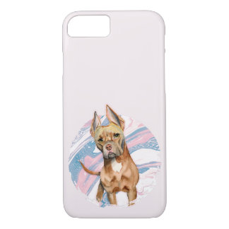 """Bunny Ears"" Pit Bull Dog Watercolor Painting iPhone 8/7 Case"