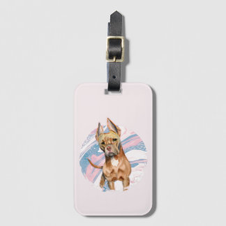 """""""Bunny Ears"""" Pit Bull Dog Watercolor Painting Luggage Tag"""