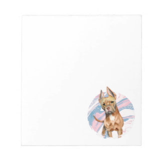 """""""Bunny Ears"""" Pit Bull Dog Watercolor Painting Notepad"""