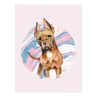 """Bunny Ears"" Pit Bull Dog Watercolor Painting Postcard"