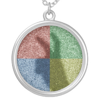 Bunny ears shadow four color grid round pendant necklace
