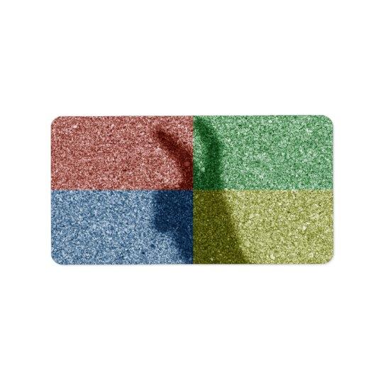 Bunny ears shadow four colour grid label