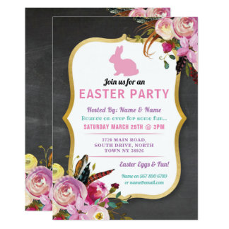Bunny Easter Party Egg Hunt Invitation Florals