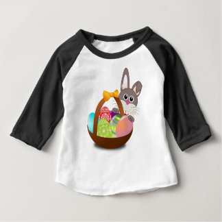 Bunny Egg Basket Easter for Happy First Easter Baby T-Shirt
