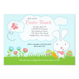 Bunny Egg Hunt Easter Brunch Party Invitation
