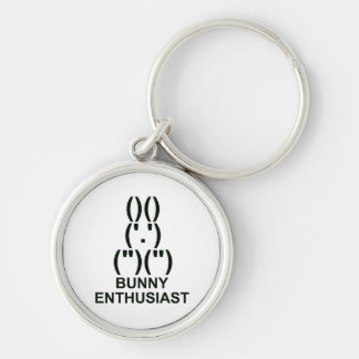 Bunny Enthusiast Silver-Colored Round Key Ring