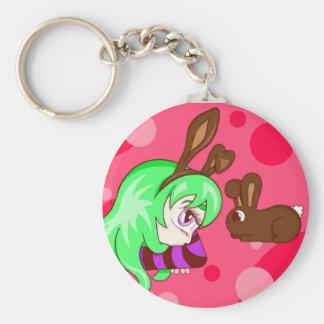 Bunny Envy Basic Round Button Key Ring