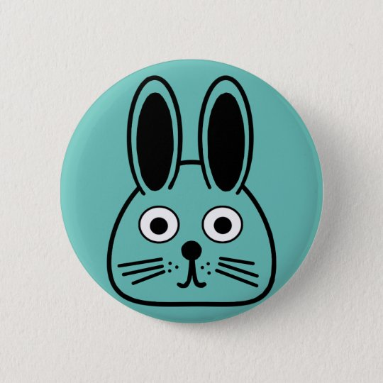 bunny face 6 cm round badge