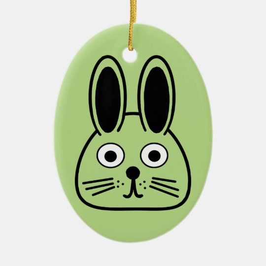 bunny face ceramic ornament