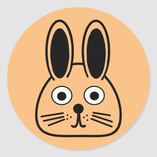 bunny face classic round sticker