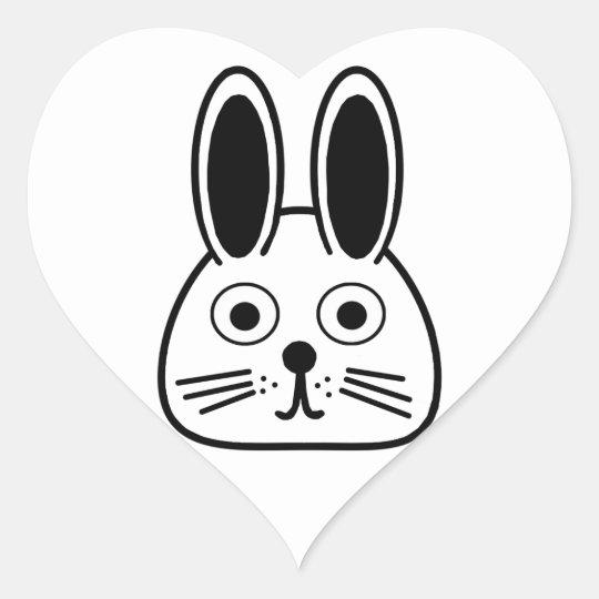 bunny face heart sticker