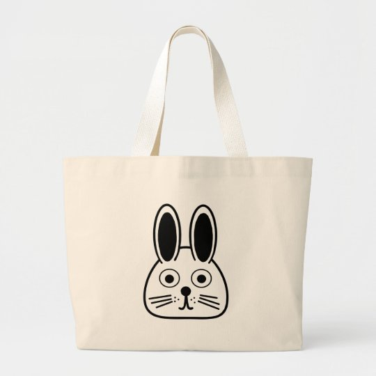 bunny face large tote bag