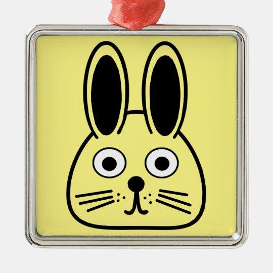 bunny face metal ornament