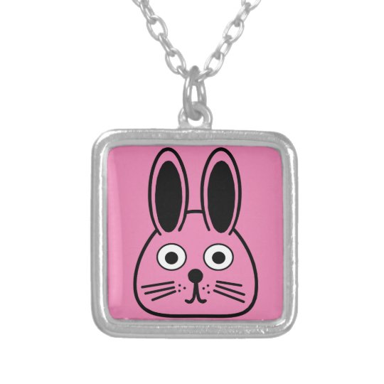 bunny face silver plated necklace