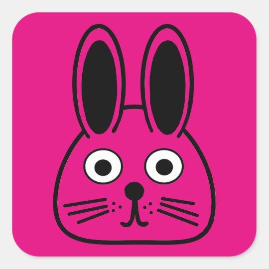 bunny face square sticker