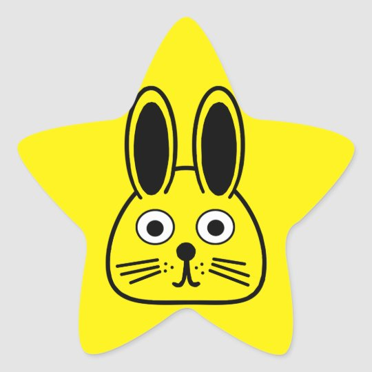 bunny face star sticker