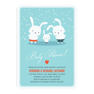 Bunny Family Couples Baby Shower Invite Round Blue