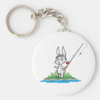 Bunny Fishing Basic Round Button Key Ring