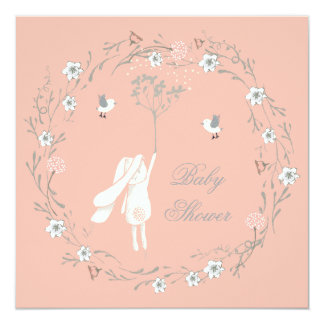Bunny Floral Wreath Dandelions Baby Shower 13 Cm X 13 Cm Square Invitation Card