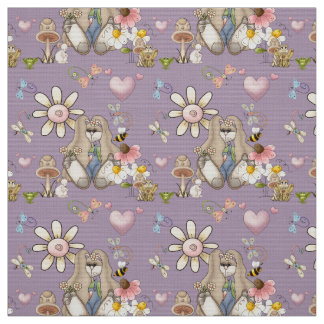 Bunny Flowers YOU Change Background Color Fabric